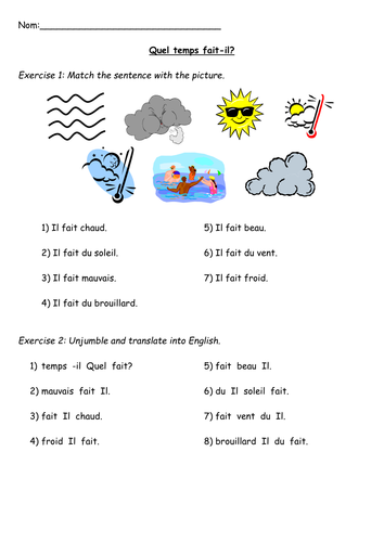Reading - weather activity