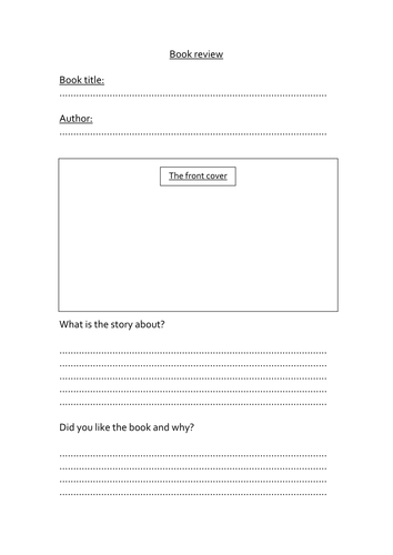 Book Cover Template Tes : Simple book review template by landoflearning teaching