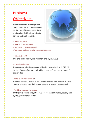 Business Objectives and Aims