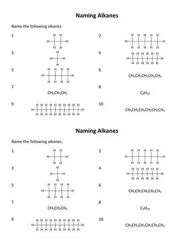 Naming Alkanes By Porcella Teaching Resources Tes