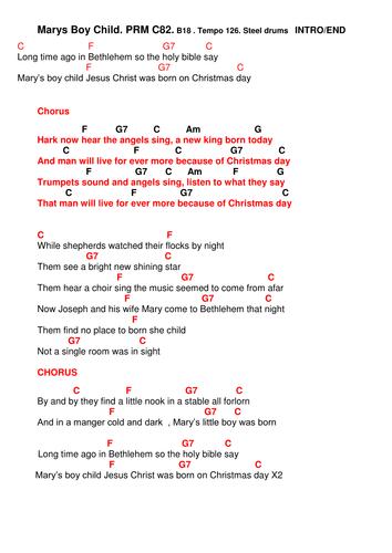 Chords Lyrics Marys Boy Child By Pwilloughby3 Teaching