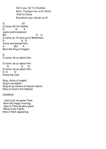 Chords Lyrics Oh Come All Ye Faithful By Pwilloughby3