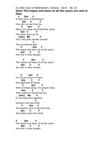Oh Little Town Of Bethlehem Chords Choice Image Chord Guitar