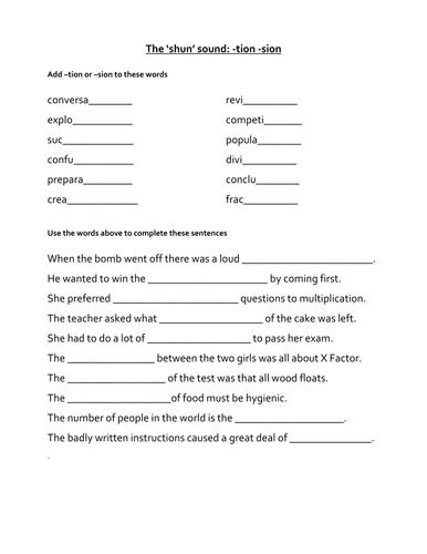 Printables Words Ending In Tion Worksheet words ending in tion worksheet bloggakuten davezan