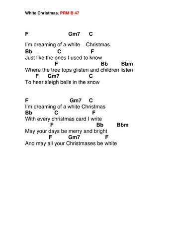White Christmas Lyrics.Chords Lyrics White Christmas By Pwilloughby3