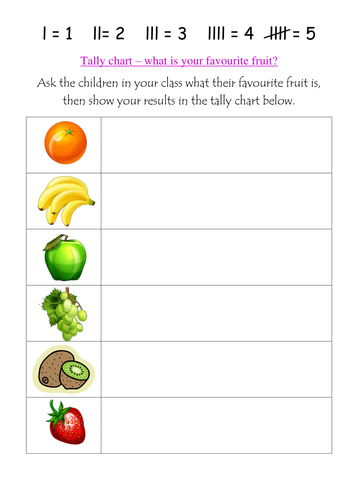 What is your favourite fruit? Tally charts. | Teaching Resources