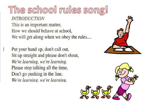 The school rules song illustrated lyrics by pwilloughby3 for Schoolhouse music