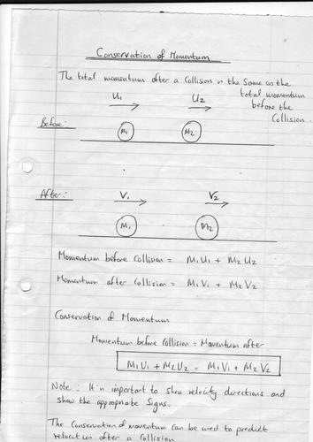 Conservation of Momentum Formula