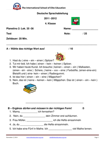 Test : In der Schule by grosszuegig - Teaching Resources - Tes
