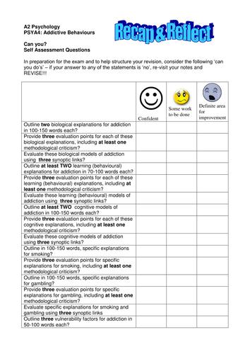 Addictive Behaviours Reflection Sheet