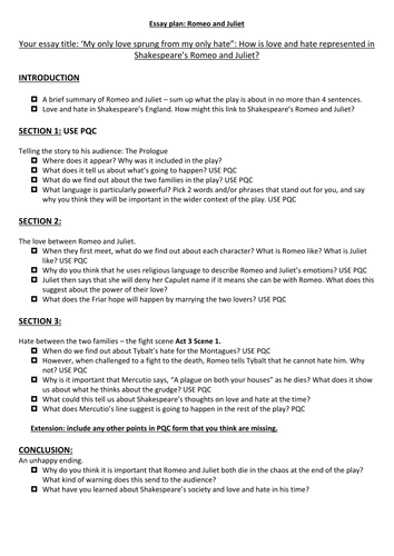 Romeo  Juliet Essay Plan Worksheet Resource By Temperance  Romeo  Juliet Essay Plan Worksheet Resource By Temperance  Teaching  Resources  Tes