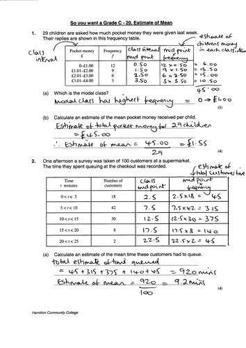 gsce maths worksheet estimate of the mean gradec by mrbuckton4maths teaching resources. Black Bedroom Furniture Sets. Home Design Ideas