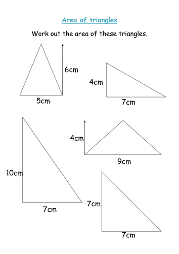 Area of triangle worksheet by michaelgrange - Teaching Resources - TES