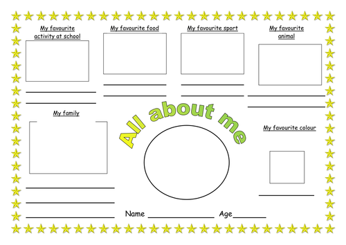 All about me worksheet by ruthbentham Teaching Resources TES – All About Me Worksheet