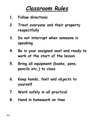 Classroom Rules By Gerstner Teaching Resources