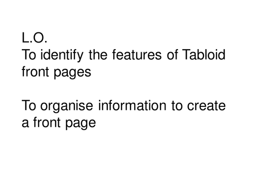 Tabloid introduction lesson