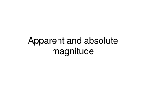 absolute and apparent magnitude of stars