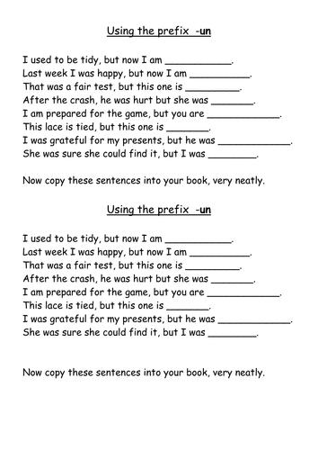 Un Words Worksheet : Using prefix un by jpspooner teaching resources tes