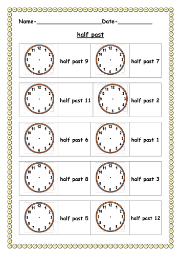 half past worksheet by ruthbentham teaching resources. Black Bedroom Furniture Sets. Home Design Ideas