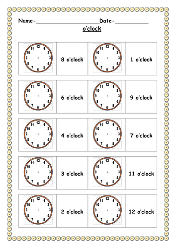 o 39 clock worksheets by ruthbentham teaching resources. Black Bedroom Furniture Sets. Home Design Ideas