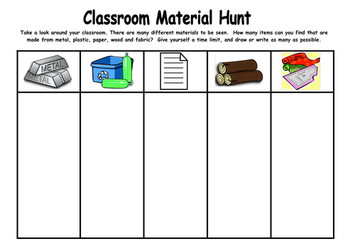 classroom material hunt by kmed2020 teaching resources tes. Black Bedroom Furniture Sets. Home Design Ideas