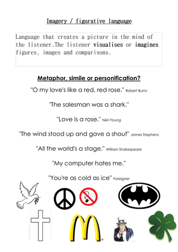 Metaphor, simile and personification by martuska - Teaching ...