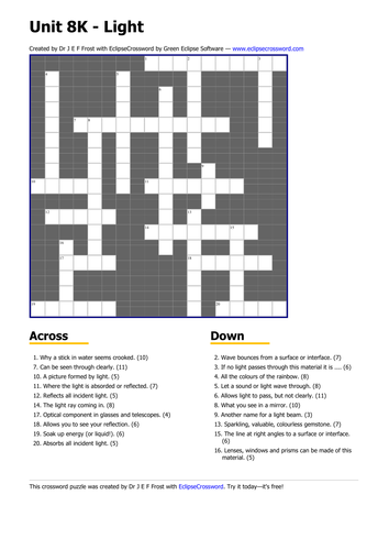 light crossword by teaching resources tes. Black Bedroom Furniture Sets. Home Design Ideas