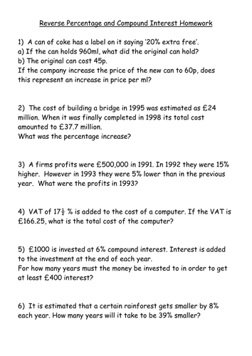 Worksheets Calculating Compound Interest Worksheet ks4 worksheet reverse and compound interest by mrbuckton4maths teaching resources tes