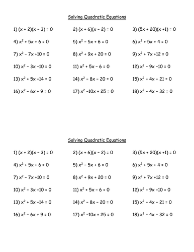 Printables Quadratic Equation Worksheet quadratic equations worksheets davezan ks4 worksheet l8 by mrbuckton4maths