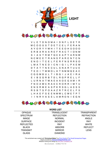 Light Wordsearch By Rajndhra Teaching Resources Tes