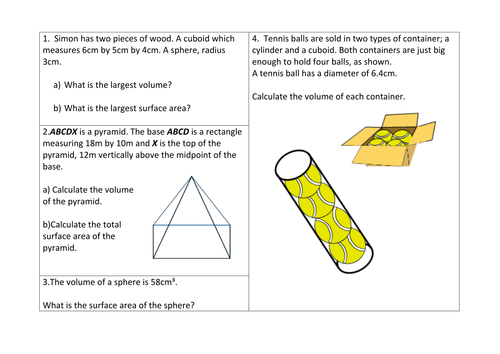 Maths Area Volume of pyramids cones worksheet by sbinning – Volume of Sphere Worksheet