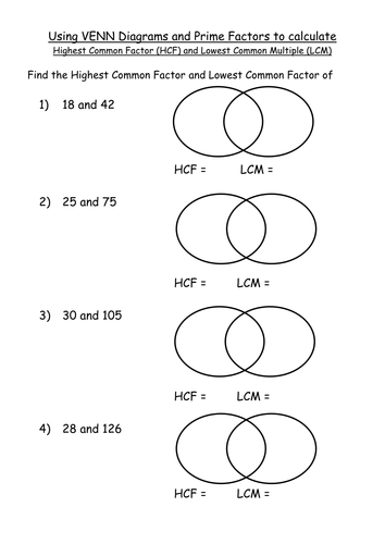 Maths Ks4 Worksheet Hcf And Lcm Venn Diagram Pfd By Mrbuckton4maths