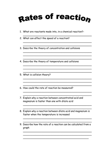 Rates of Reaction Questions