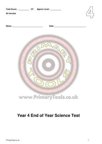 Science Tests, Answers & Analysis for Yrs 3 to 5