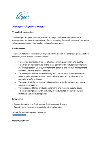 Support Service Manager (Nuclear Industry)