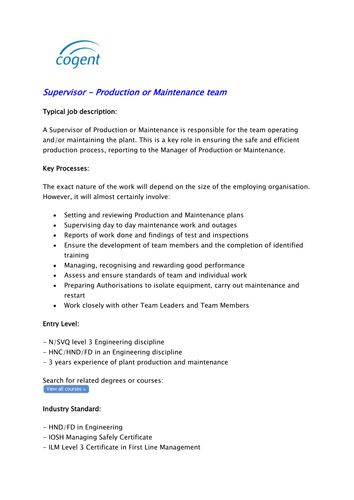 Supervisor - Production or Maintenance team by Cogent_SSC - Teaching