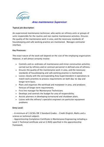 Area maintenance Supervisor (Petroleum Industry) by