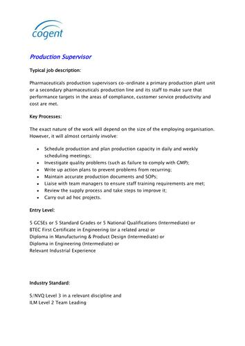 Production Supervisor (Pharmaceutical Industry)