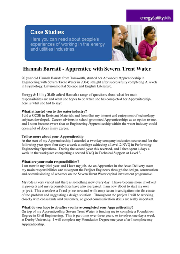 Apprentice Severn Trent Water Case Study by EU_skills - Teaching
