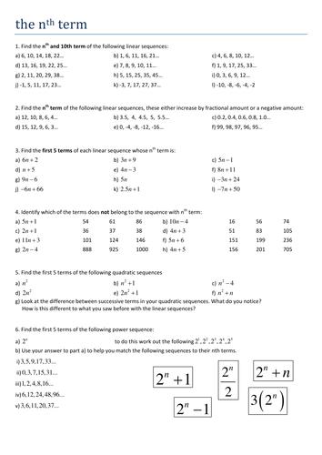 Free Worksheets » Sequences Worksheets Ks3 - Free Math Worksheets ...