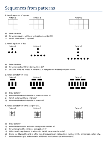 Worksheet Sequences Worksheet maths worksheet sequences from patterns by tristanjones preview resource