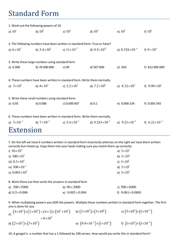 Maths Worksheet: Standard Form at Foundation by Tristanjones ...