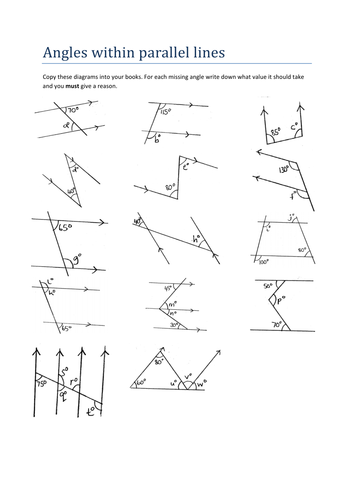 Maths Worksheet Angles Within Parallel Lines By Tristanjones Teaching Resources Tes