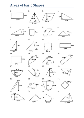 Area Of Basic Shapes Worksheet Ks3 By Tristanjones Teaching