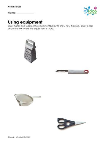 Cooking - Using Equipment Worksheet