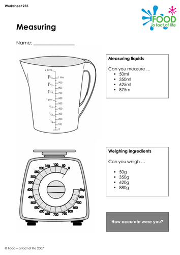 cooking measuring worksheet by foodafactoflife teaching resources. Black Bedroom Furniture Sets. Home Design Ideas