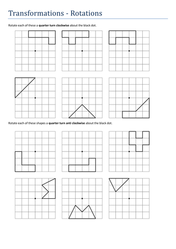 Transformations-rotations no axes. Worksheet by Tristanjones ...