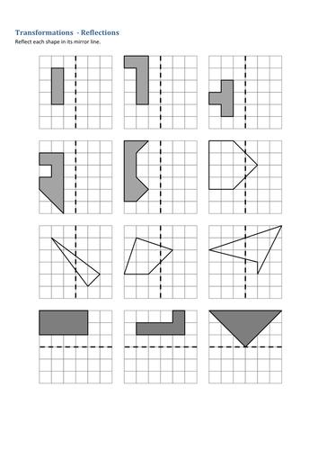 Maths: Transformations - reflections. Worksheet