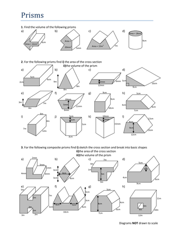 volumes of prisms worksheet by tristanjones teaching resources tes. Black Bedroom Furniture Sets. Home Design Ideas