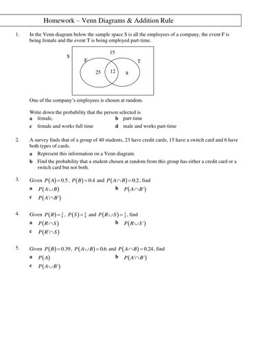 Hw On Addition Rule And Venn Diagrams By Tristanjones Teaching